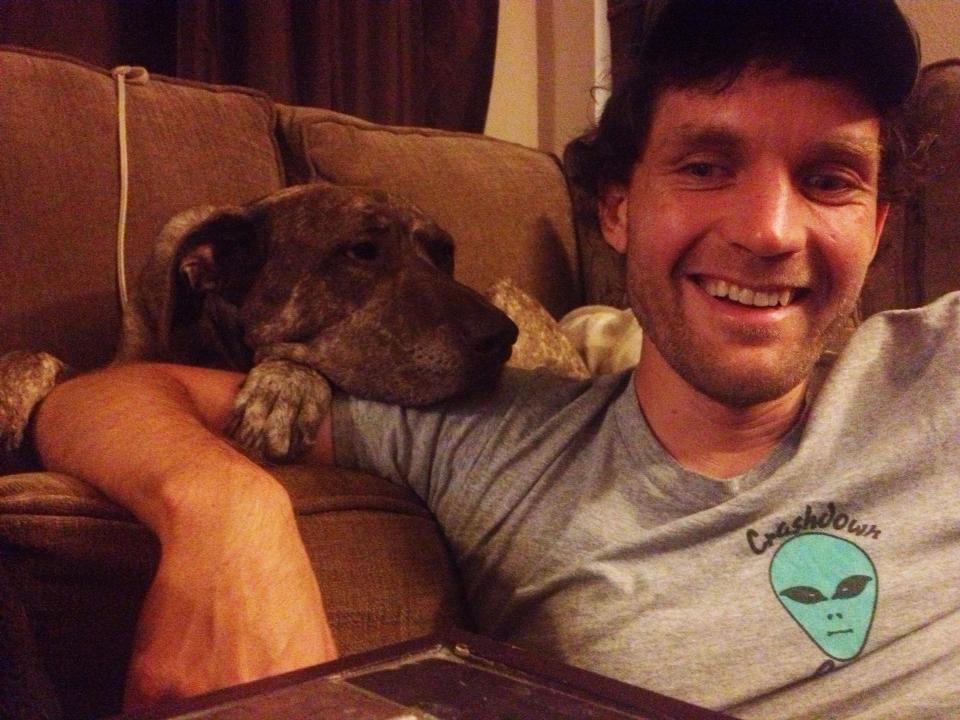 Josh with his sister's dog, Bella.