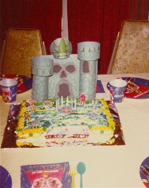 Josh's sixth birthday cake topped with Castle Grayskull